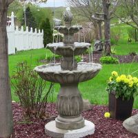 3 Tier Classic Tulip Outdoor Water Fountain - Grey Stone ...