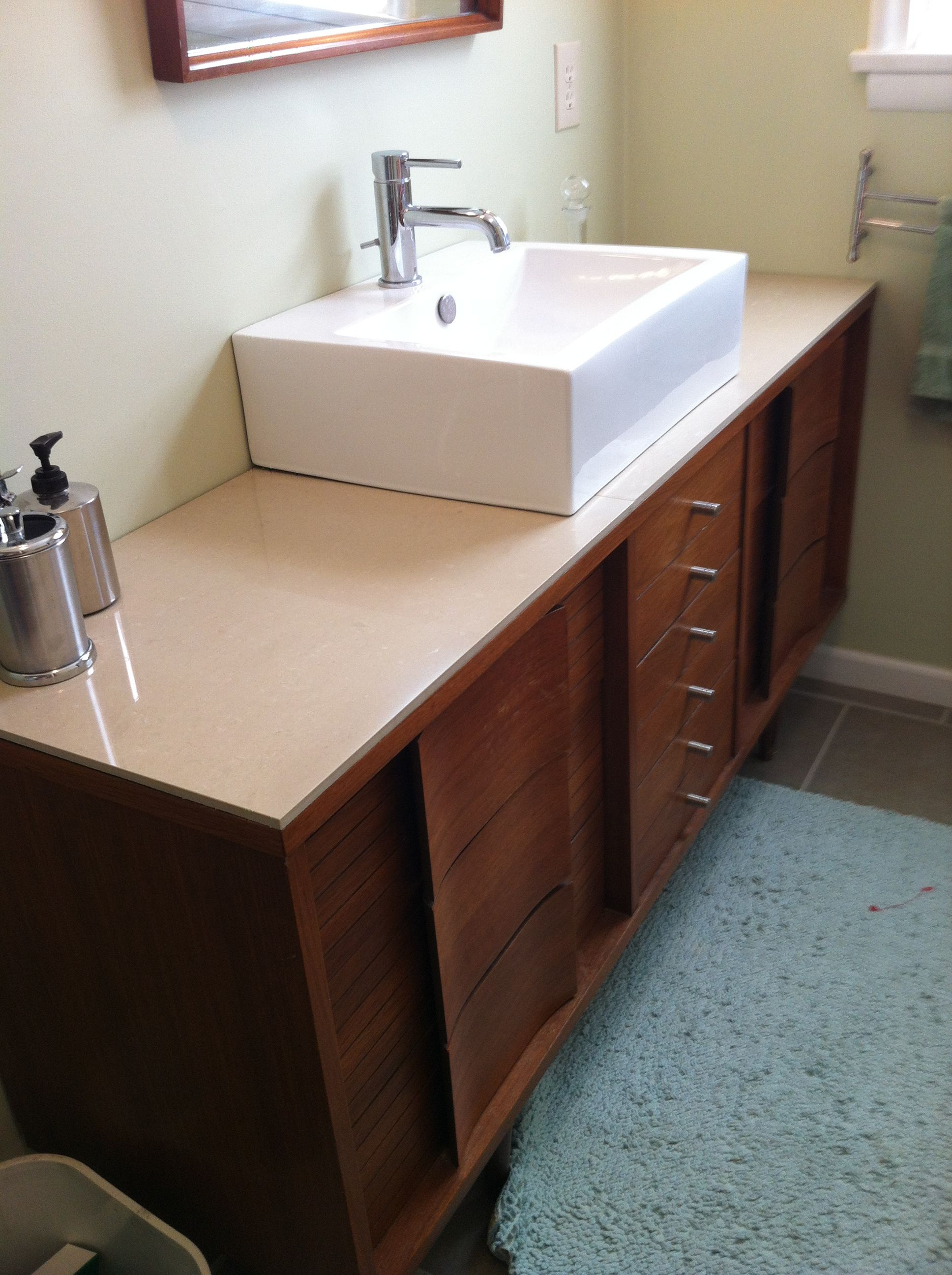 Mid Century Modern Bathroom Vanity Our Master Bath Vanity Mid Century Dresser Topped With 24