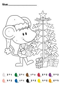 CHRISTMAS Color by Numbers Printables | Christmas Addition ...