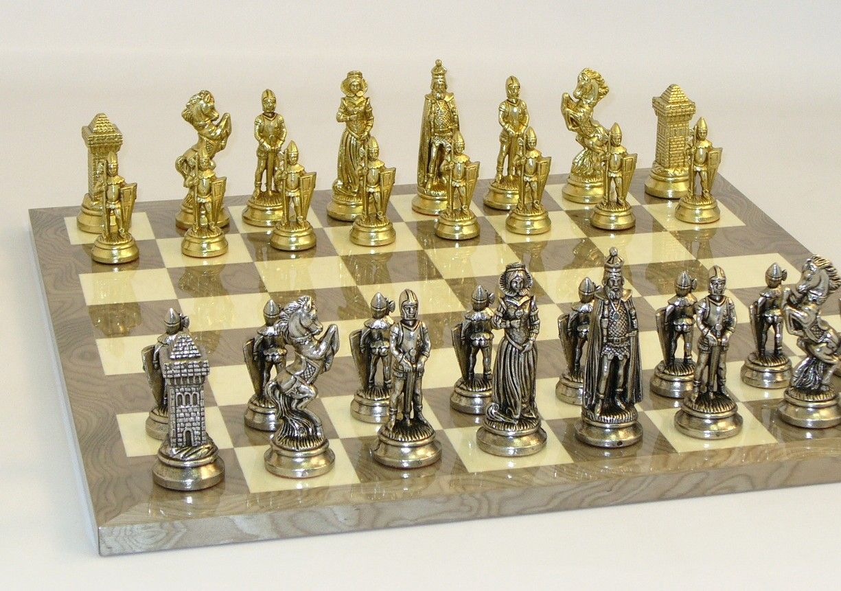 Steel Chess Pieces Mary Stuart Metal Chess Men From Italy On A Grey Ivory