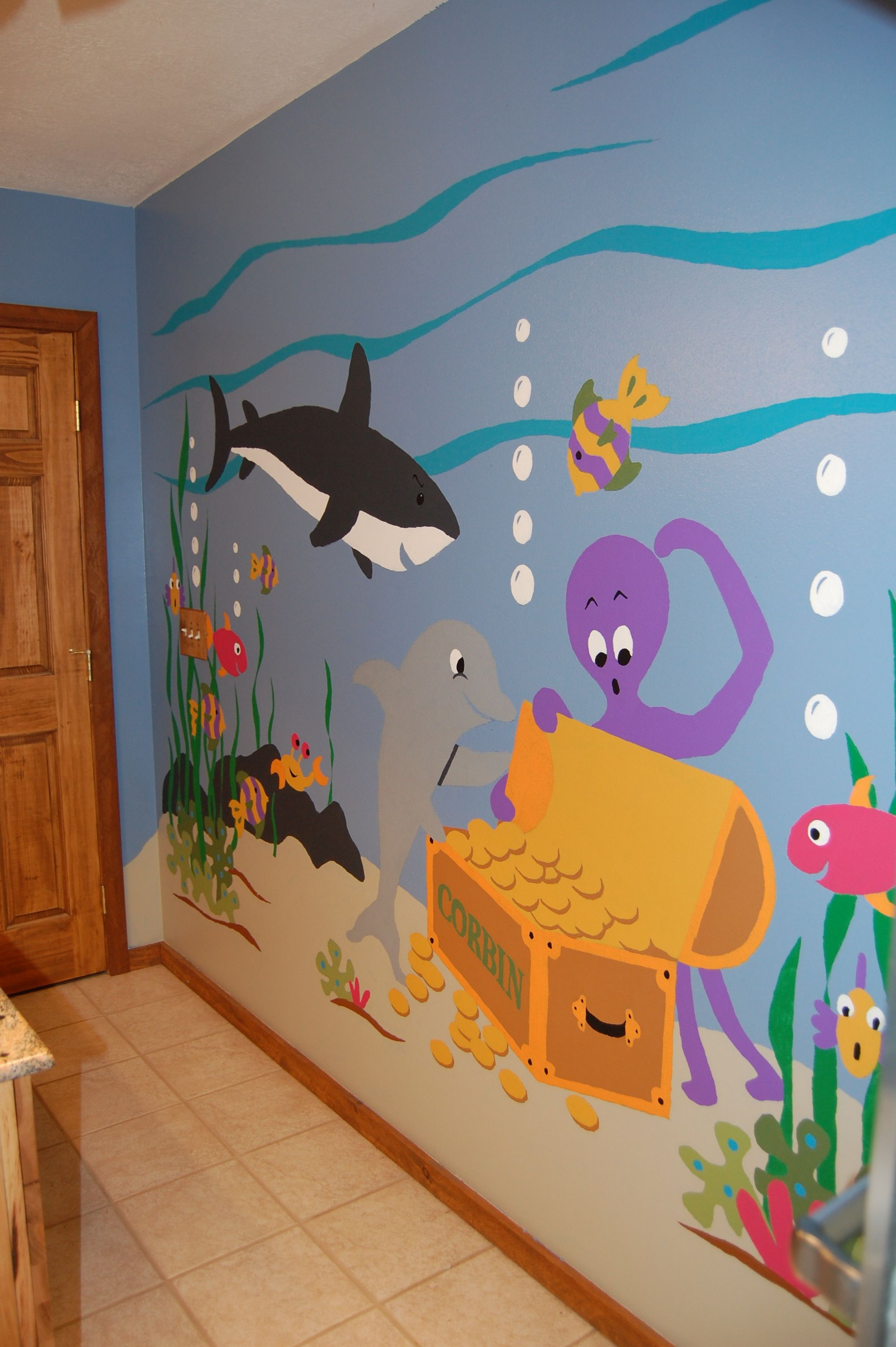 Kids Ocean Bathroom Decor Sea Treasures Wall Mural Wall Murals Underwater And Walls