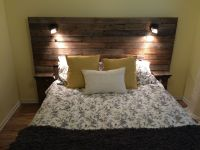 Pallet headboard with shelf, lights and plugs for cell