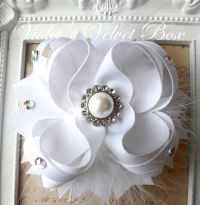 Wedding White Hair Bow -Luxurious Boutique Bow with Pearls ...