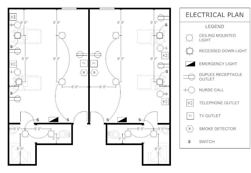 2 bedroom house electrical plan