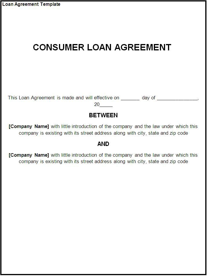 Printable Sample loan contract template Form Laywers Template - money loan contract template