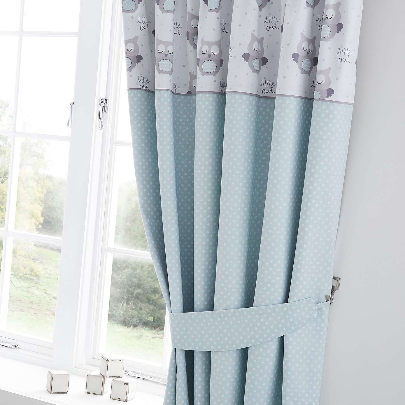 Baby Blue Blackout Curtains Little Owls Nursery Blackout Pencil Pleat Curtains
