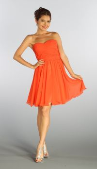 Strapless Chiffon Short Orange Bridesmaid Dress Knee Length