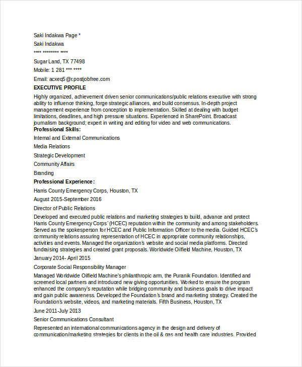 communications director resume