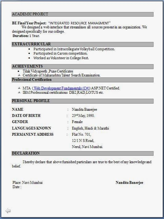 Resume Format In Pdf Resume Template For Fresher 10 Free Word - download resume format free