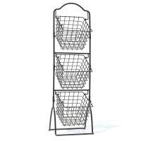 Wire Basket Rack Storage Bin Vegetable Fruit Black Metal ...