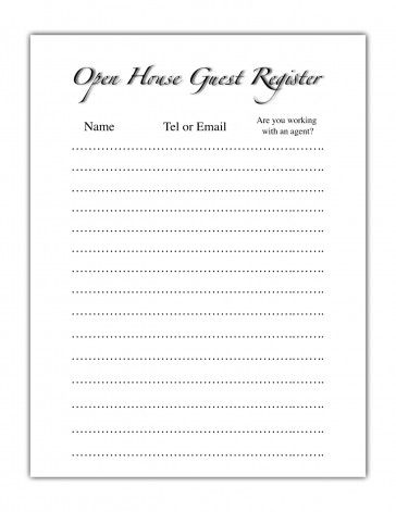 Realtor Open House Sheet Open House Guest Register Projects to - sample open house sign in sheet template