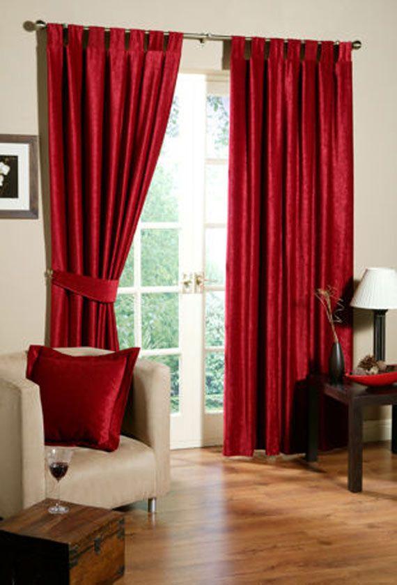 shiny satin curtains, YUM! RED Pinterest Living room - red curtains for living room