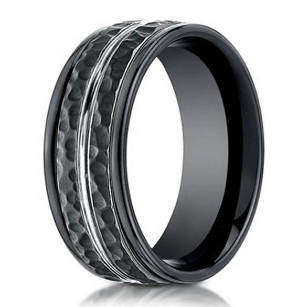 cobalt wedding rings Hammered Finish Designer Cobalt Chrome Ring for Men in Black 8mm