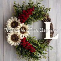 Sunflower Wreath - Red Wisteria Wreath - Winter Wreath For ...