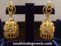 22K gold white stone jhumka | Jhumkas Collections ...