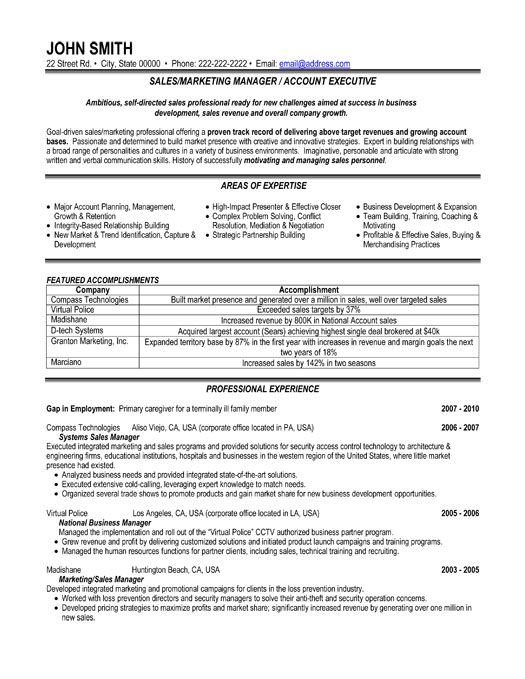 Sales And Marketing Resume Sample Resume Sample 5 Senior Sales - marketing director resume examples
