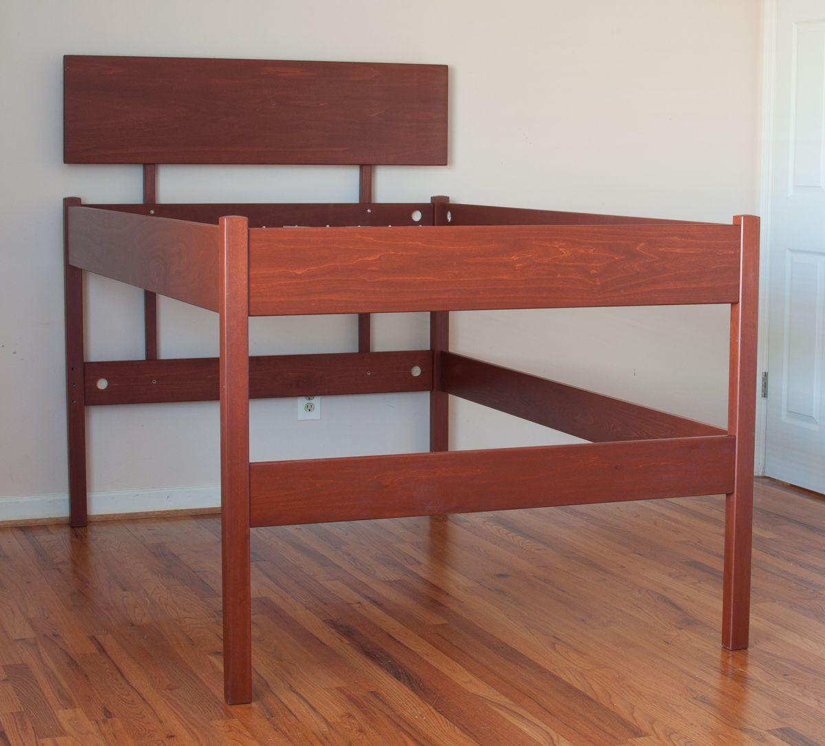 Brown wood high raised platform bed frame for queen size decofurnish