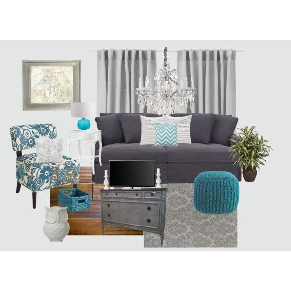 """Gray and Teal Living Room"" by jurzychic on Polyvore"