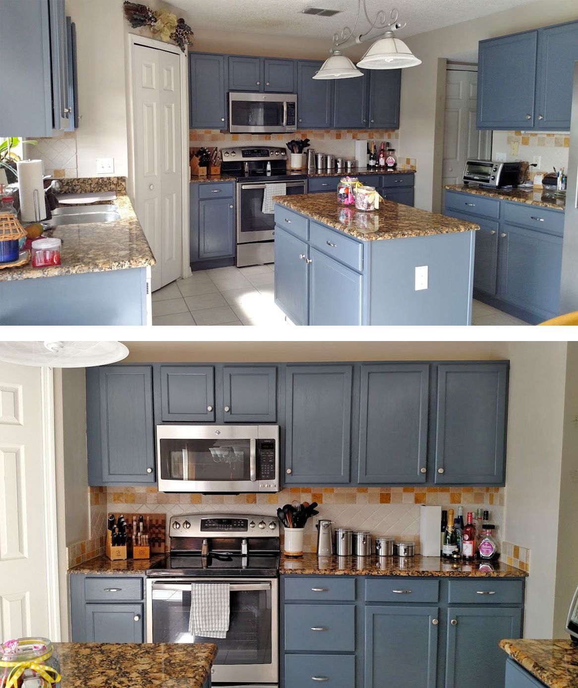 Staining Unfinished Kitchen Cabinets Kitchen Makeover In Gray Gel Stain Kitchens Java Gel