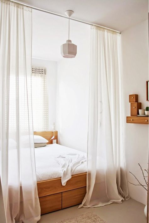 17 Tiny Bedrooms With HUGE Style White curtains, Bedrooms and - tiny bedroom ideas