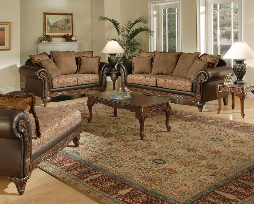 Victorian Style living room set with chaise lounge #home - living room chaise lounge