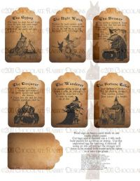 Vintage Halloween Witch Fortune Teller Tag Digital ...