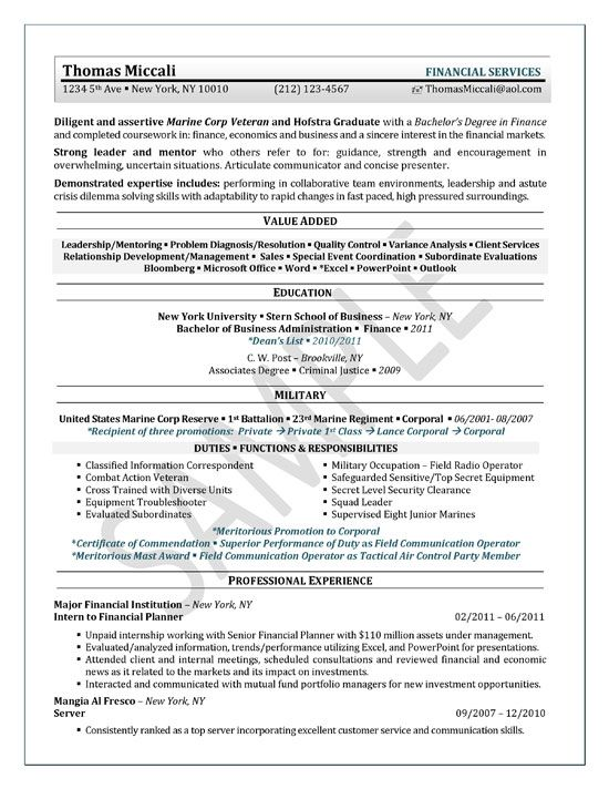 University Student Resume Example Resume examples, Student - financial planner resume