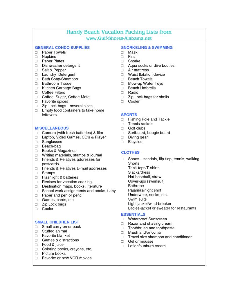 Beach vacation checklist template myvacationplan beach vacation checklist template yoktravels com maxwellsz
