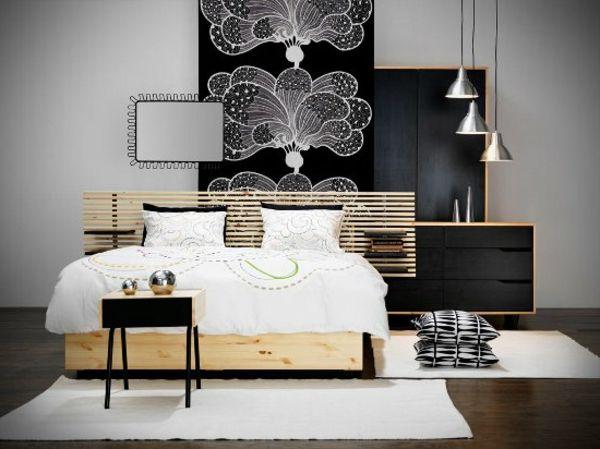 modernes schlafzimmer einrichten holz dekokissen weiße bodenmatten - schlafzimmer einrichten holz