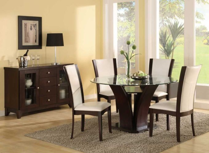 modern kitchen table chairs Espresso Dining Chairs House Design Modern Dining Table Set Round Glass Top Espresso With White Big Window Popular Glass Top Dining Room Table Sets Modern