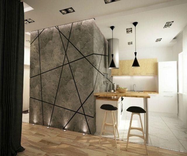 Ideen kreative Wandgestaltung Küche Essplatz Laminatboden - kreative wandgestaltung