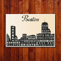 Boston Skyline Print, Typography Poster, Retro Wall Art ...