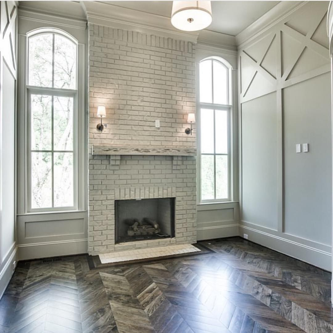 Cover Brick Fireplace With Wood Panels Brick Fireplace And Herringbone Flooring A Stylish Home