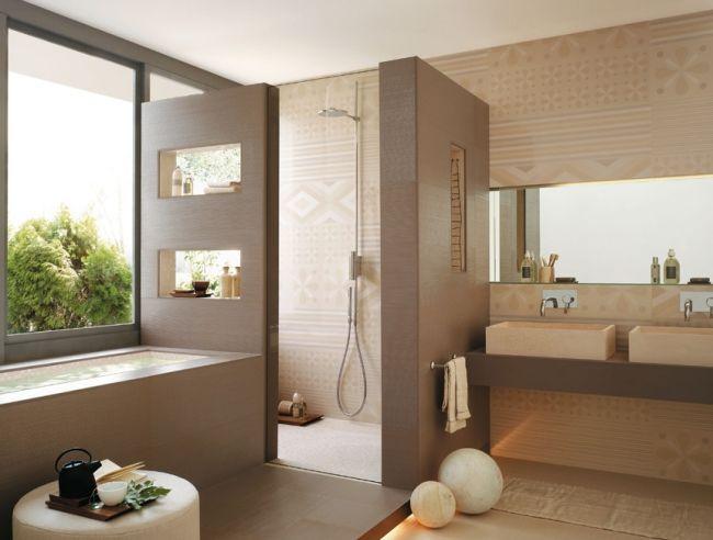 badgestaltungsideen fliesen beige dekorative muster badewanne - badezimmer 3x3 meter