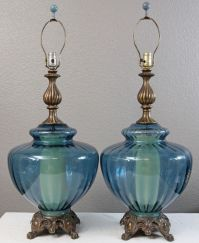 "Large 14"" wide Aqua Blue Glass Swag Table Lamp Pair ..."