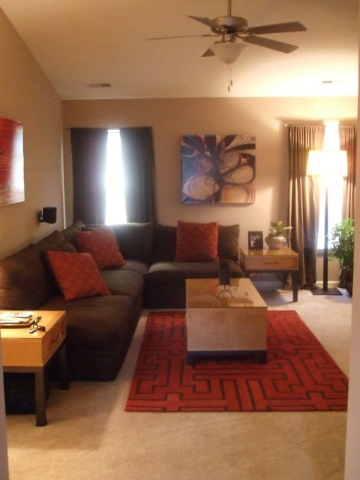 We need to get a nice, modern rug and some coordinating pillows - red and brown living room