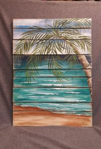 Reclaimed Wood Pallet Art BEACH Hand painted, Pallet wall ...