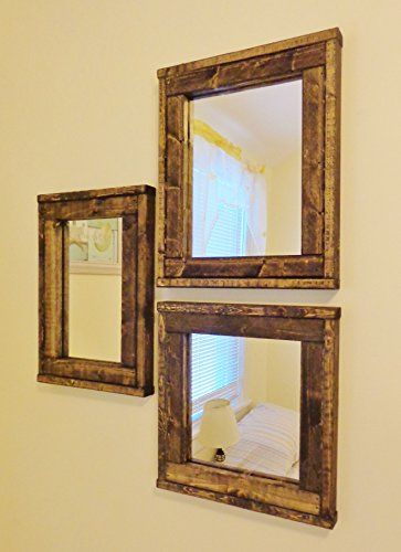 Three Mirrors - Collage - Reclaimed Wood Mirror - Rustic Modern - home decor mirrors