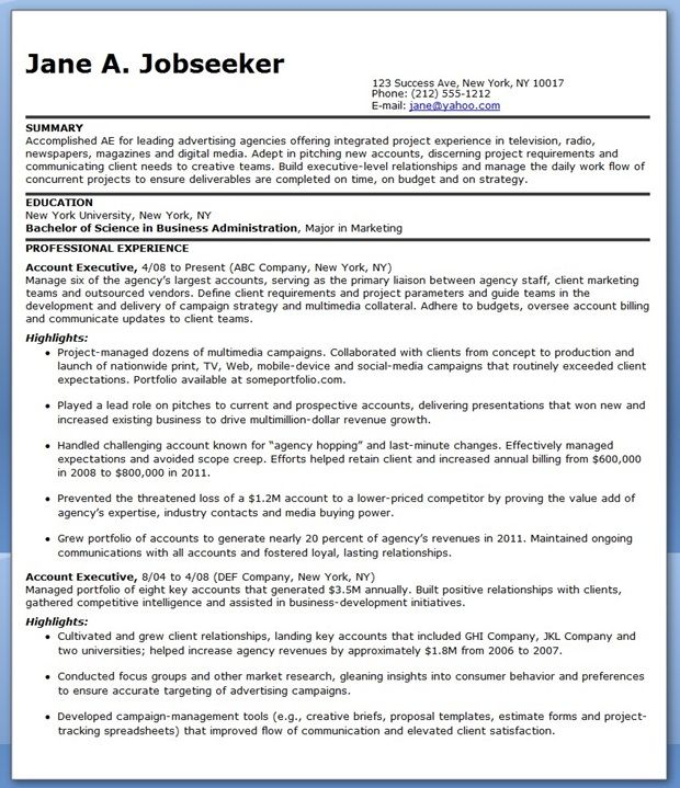 Sample Resume Account Executive Advertising Creative Resume - executive resume templates word