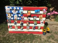 Pallet flag decoration, red, white and blue Birthday ...