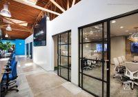 the Trade Desk. Black sliding glass doors, modern ...