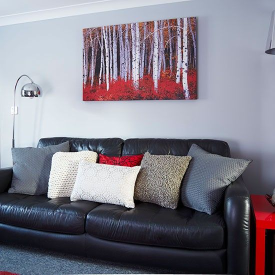 DIY budget gallery wall update Valentines gallery wall DIY gallery - black and red living room ideas