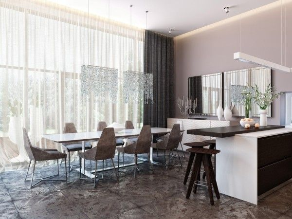 Apartment, Twin Waterfall Hanging Lamps Open Plan Living Space - living spaces dining room sets