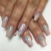 Holographic chrome glitter ombr nail art design | Nail ...