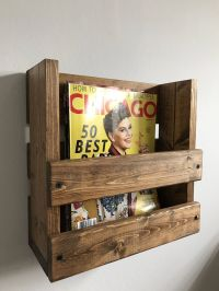 Rustic magazine rack, Wall mounted magazine holder, Wood ...