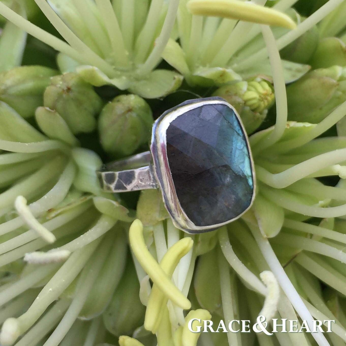 labradorite wedding ring Grace and Heart s Quietude Labradorite Ring Sterling Silver 3 4 Labradorite Stone surrounded