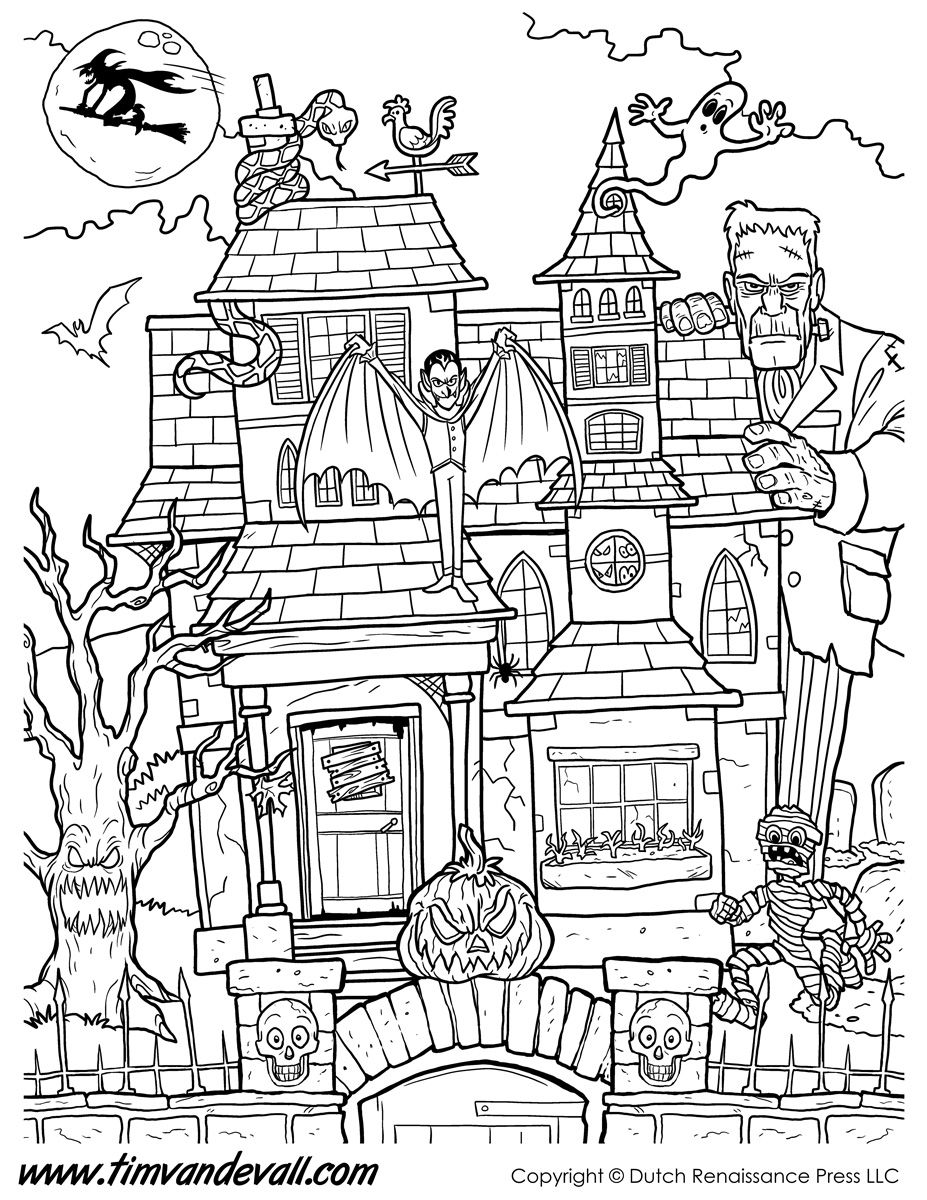 Printable coloring pages rooms house -  House Coloring Page Printable Jpg 927 1200 Download