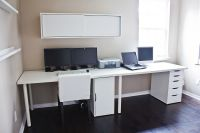 Clean White Computer Desk Setup from IKEA LINNMON ADILS ...