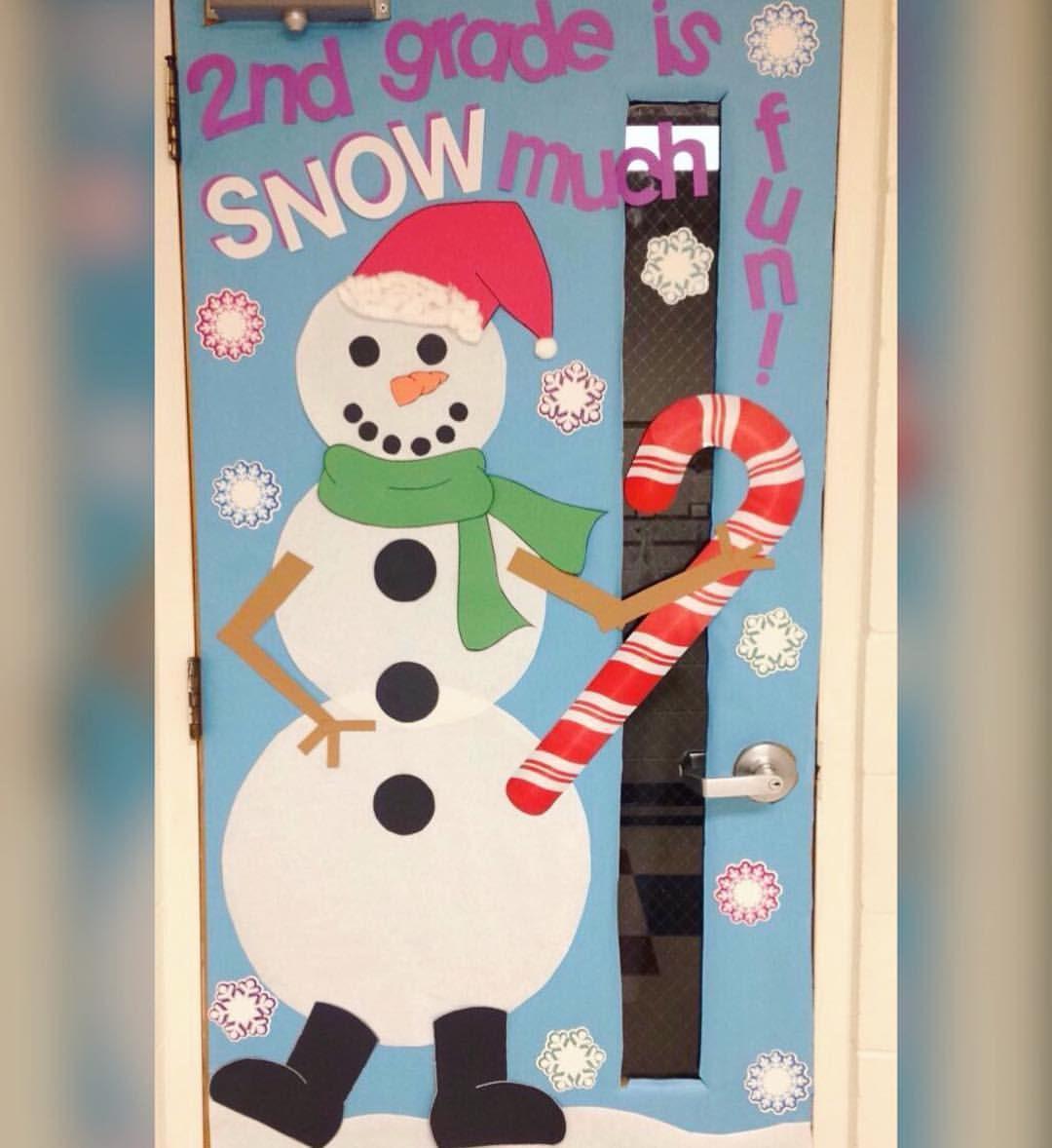 Winter classroom door. Snowman door. Second grade door