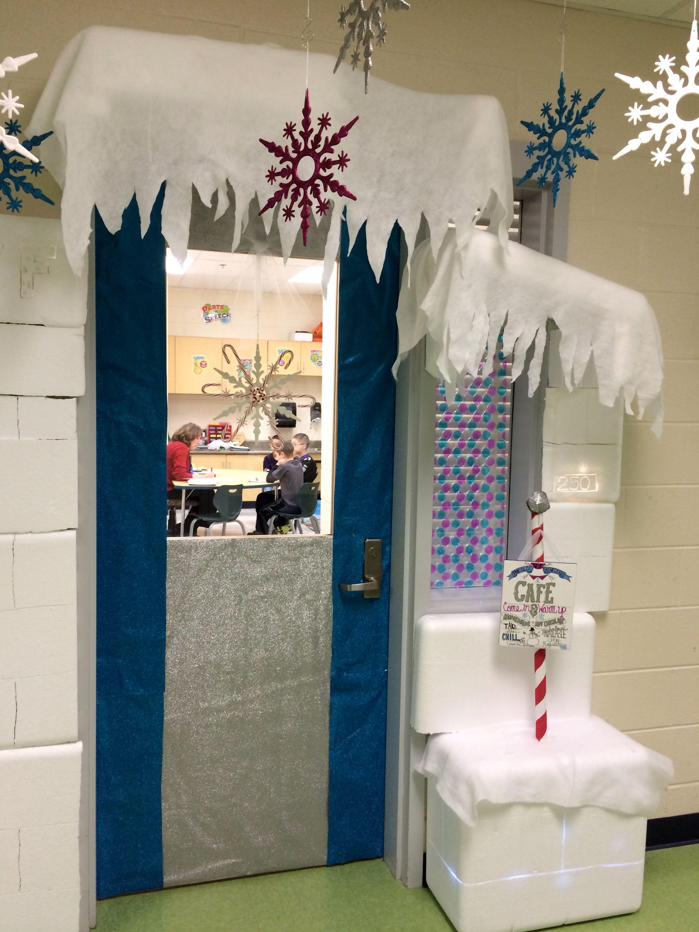 My winter wonderland classroom door ran over to the speech